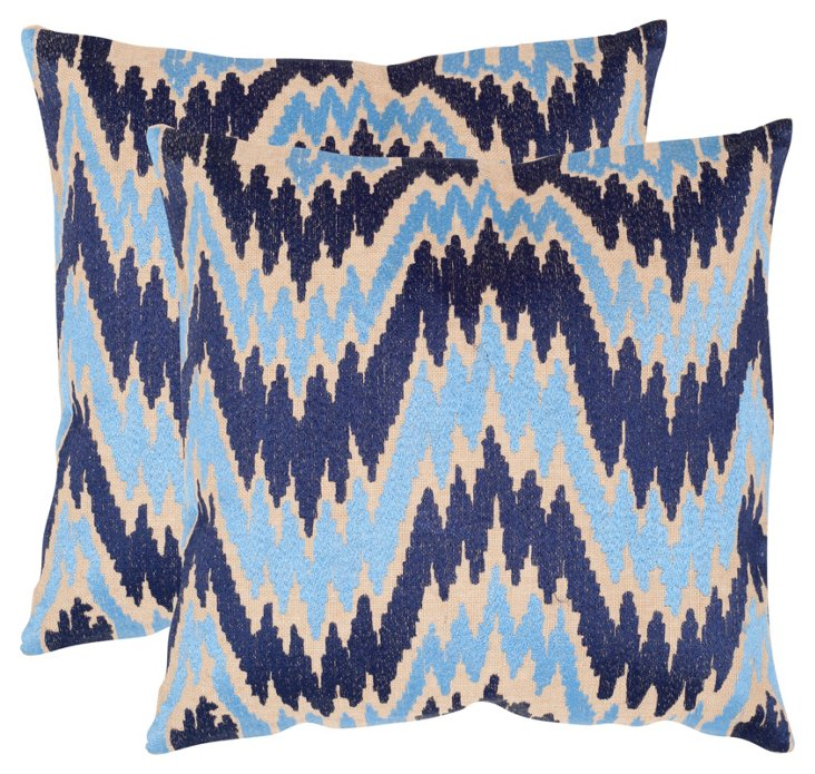 S/2 Adam Linen-Blended Pillows, Indigo