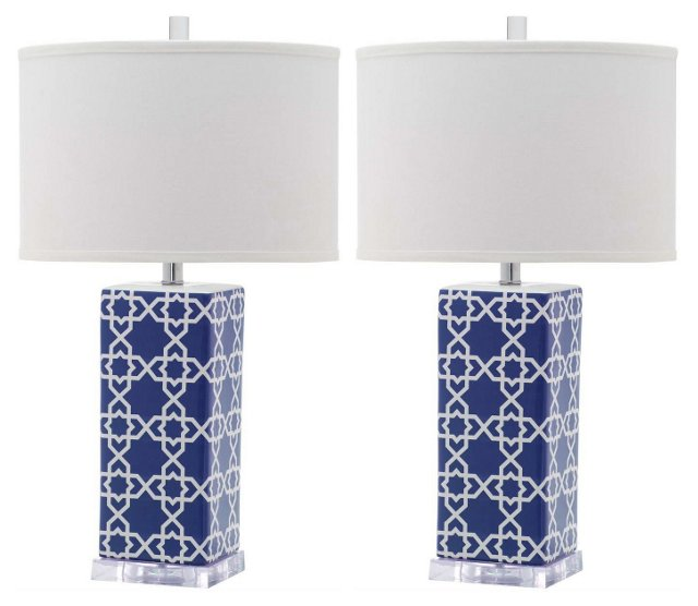 Payton Table Lamp Set, Navy Blue