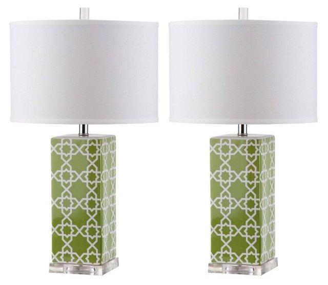 Payton Table Lamp Set, Green