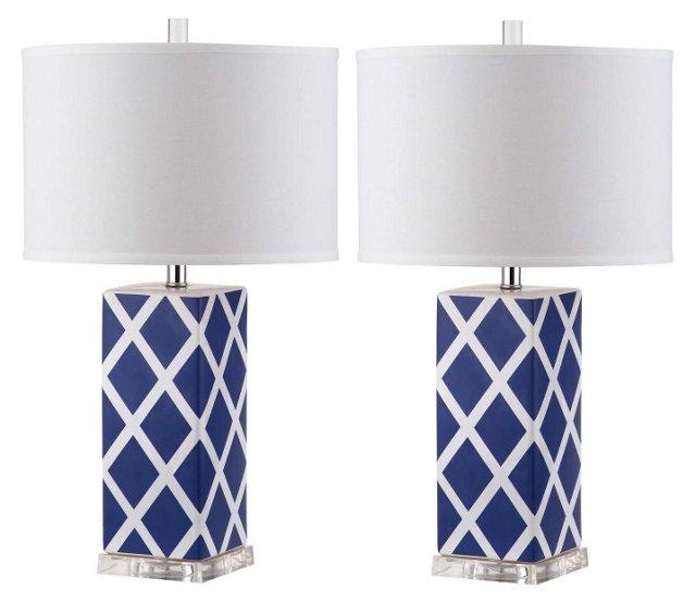 Garden Lattice Table Lamp Set, Navy Blue