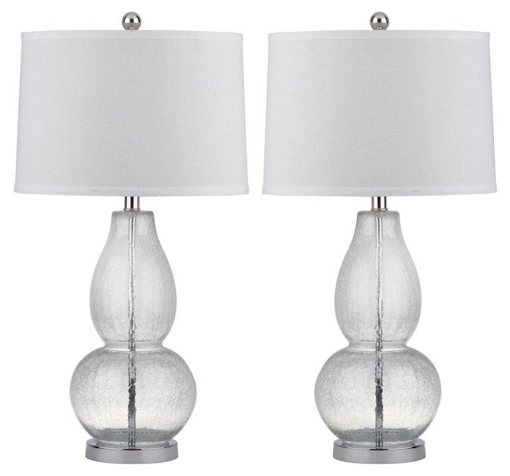 Mercurio Gourd Lamp Set, Crinkle Glass