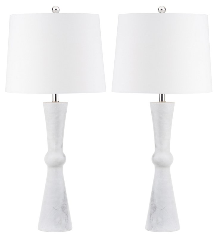 Bowtie Table Lamp Set, White