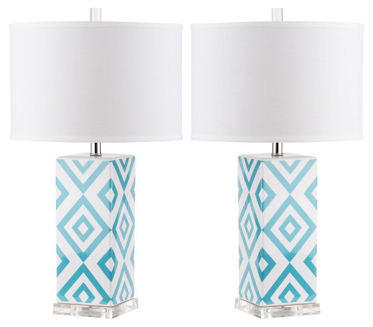 Diamonds Table Lamp Set, Teal
