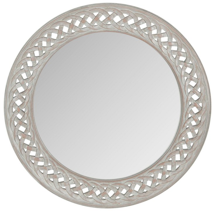 Braided Frame Accent Mirror, Gray