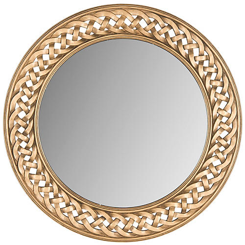 "Braided 24"" Frame Accent Mirror, Gold"