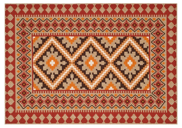 Pierce Outdoor Rug, Red/Natural