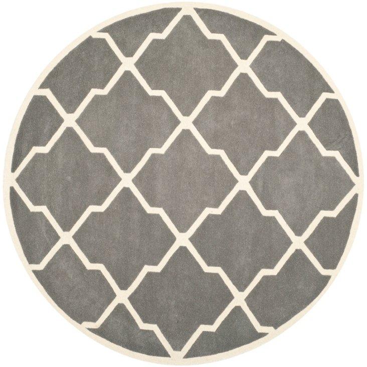 7' Round Bianca Rug, Dark Gray/Ivory