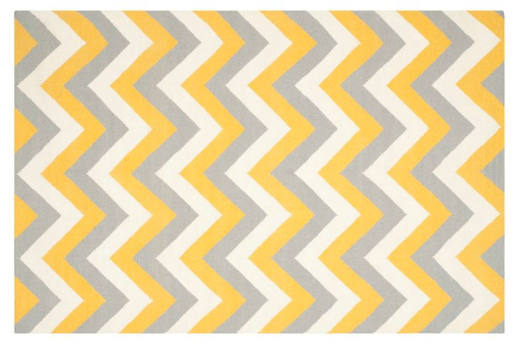 Melvin Flat-Weave Rug, Gold/Gray