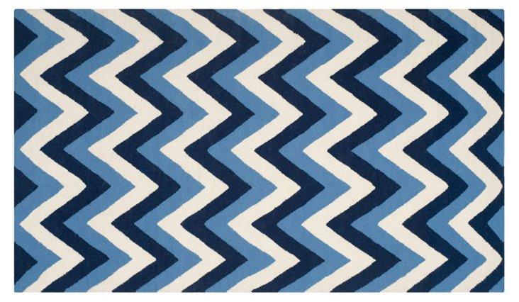 Merry Flat-Weave Rug, Navy