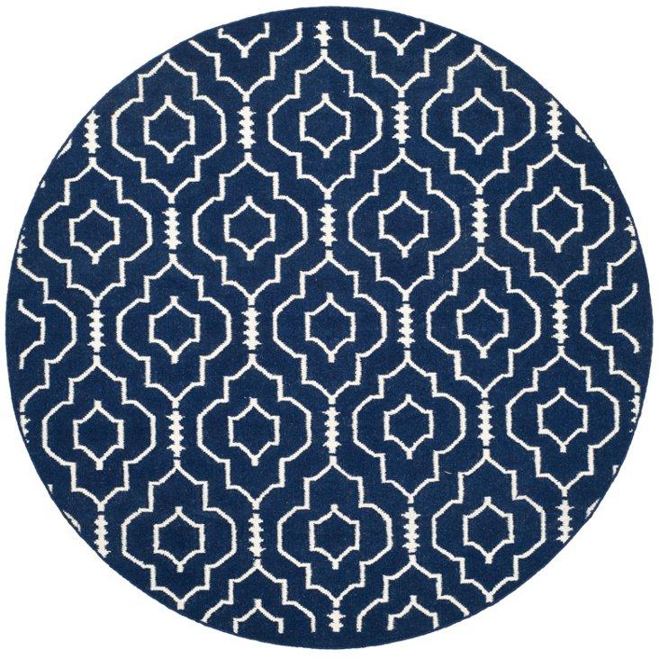 6' Round Mindy Flat-Weave Rug, Navy
