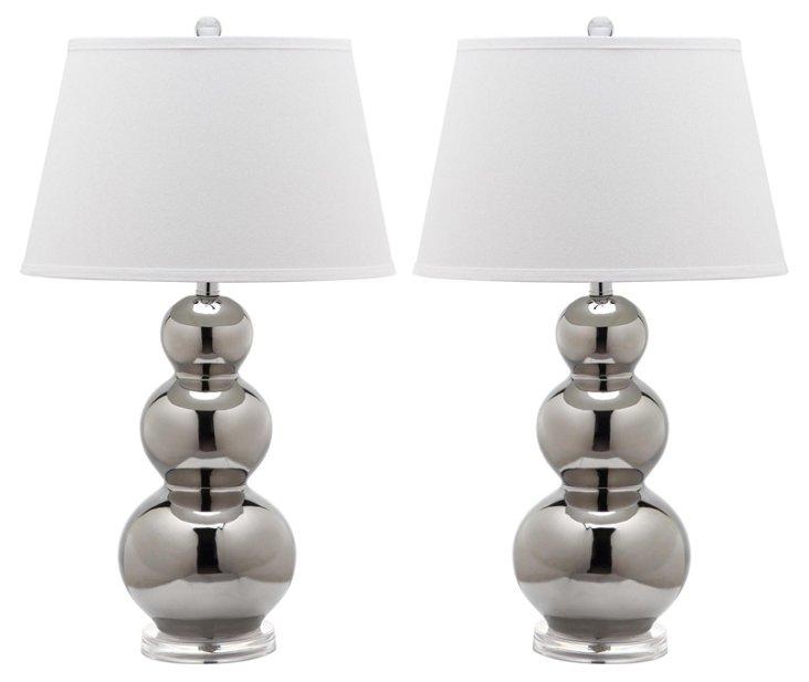 Pamela Gourd Lamp Set, Metallic Silver