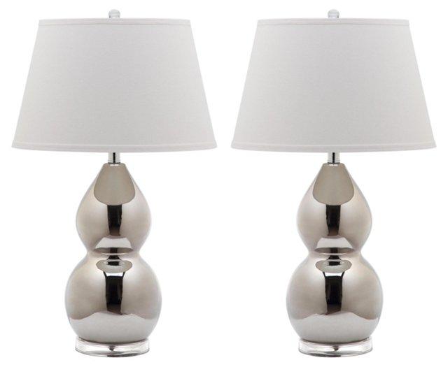 Jill Double Gourd Lamp Set, Silver
