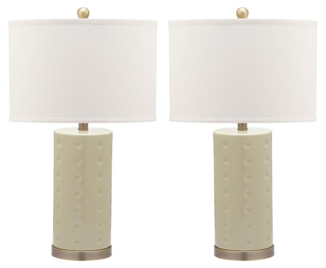 Roxanne Table Lamp Set, Eggshell