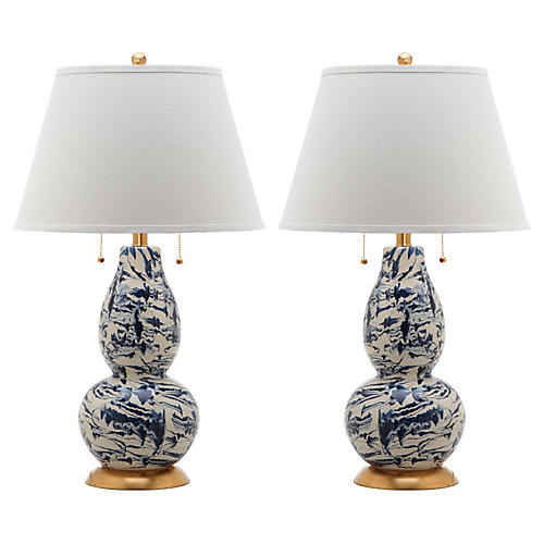 Genevieve Swirl Table Lamp Set, Navy