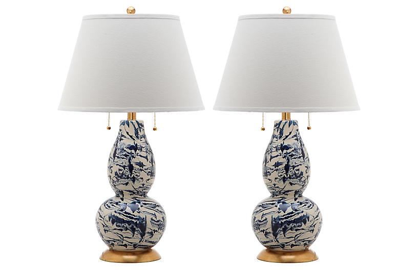 S/2 Libby Table Lamps, Navy