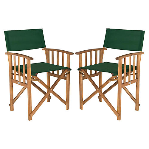 Green Director Chairs, Pair