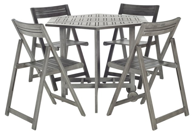 Lacy Table & 4 Chairs, Gray