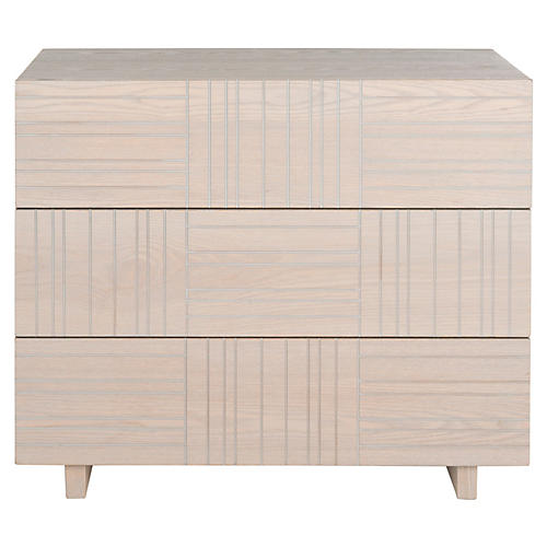 Kira 3-Drawer Nightstand, Cream