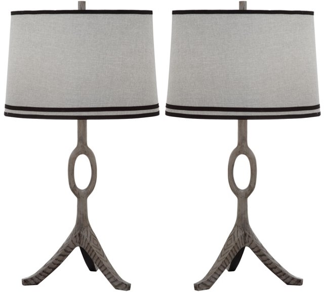 Packwood Table Lamp Set, Gray Linen