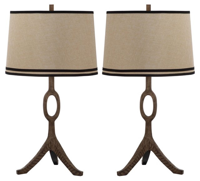 Packwood Table Lamp Set, Natural Linen