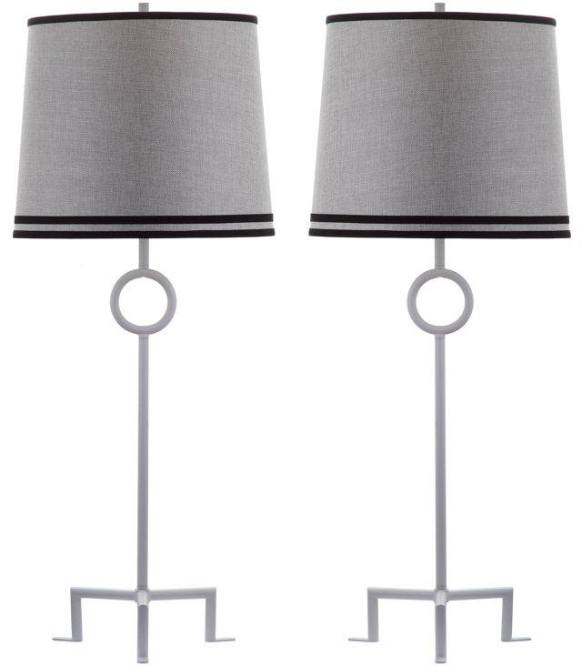 Shotwell Table Lamp Set, Gray Linen