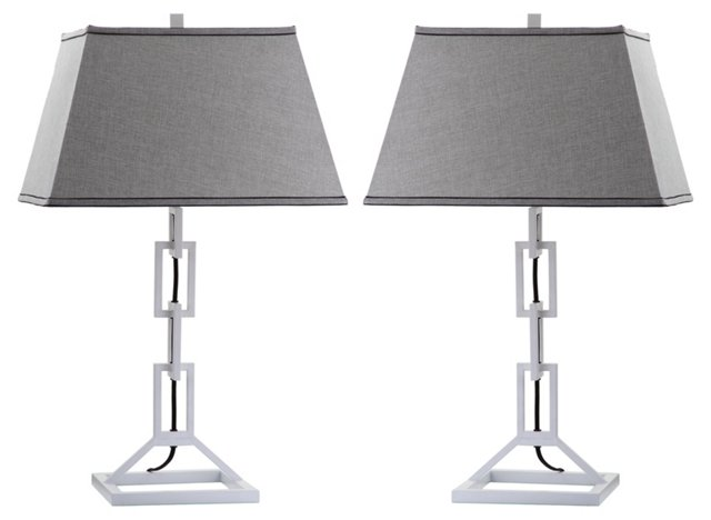 Jamison Table Lamp Set, Gray Linen