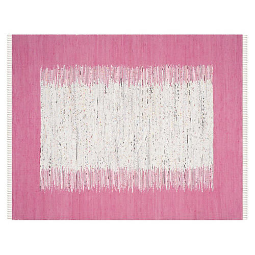 Cay Flat-Weave Rug, Ivory/Pink