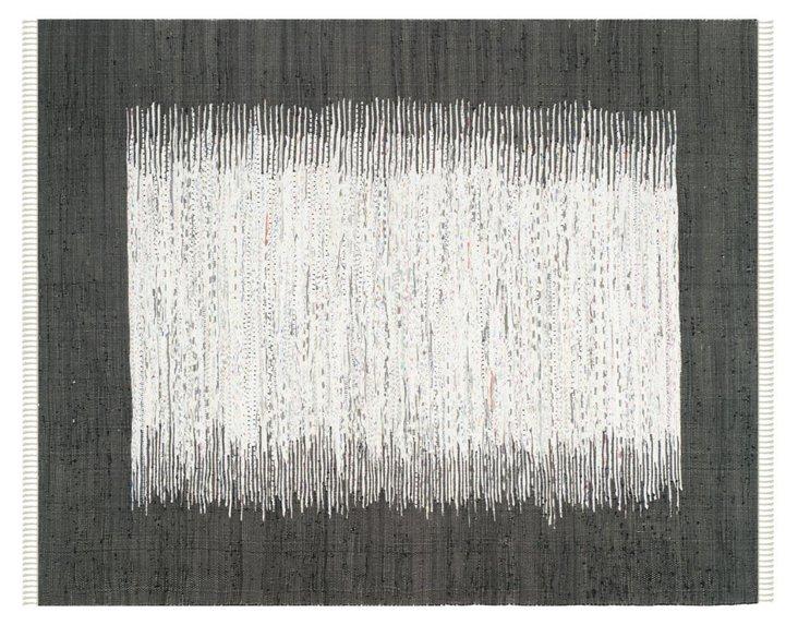 Cay Flat-Weave Rug, Ivory/Black