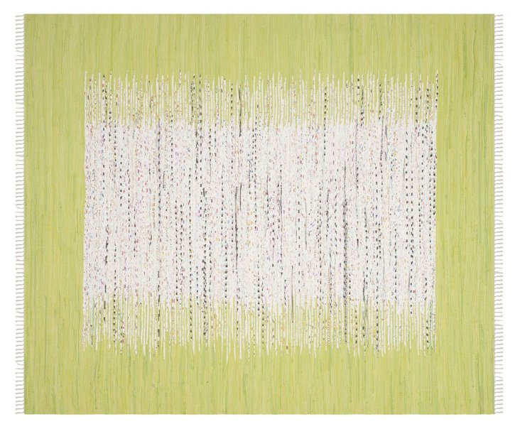 Cay Flat-Weave Rug, Ivory/Green