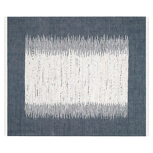 Cay Flat-Weave Dhurrie, Navy/Ivory