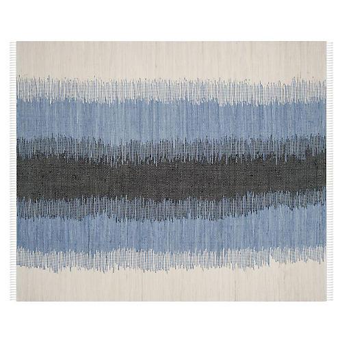 Thea Flat-Weave Rug, Blue/White