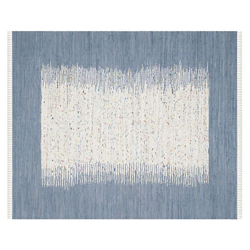 Cay Flat-Weave Rug, Ivory/Blue