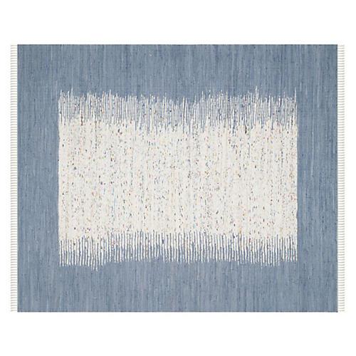 Cay Flat-Weave Rug, Ivory/Blue