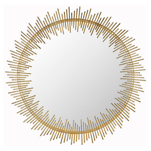 "Rhonda 30"" Wall Mirror, Antiqued Gold"