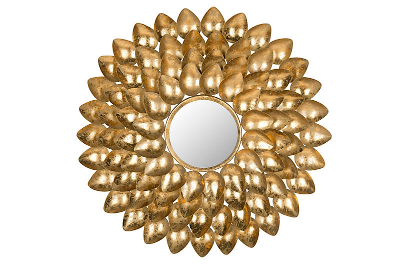 Mikayla Sunburst Wall Mirror, Gold
