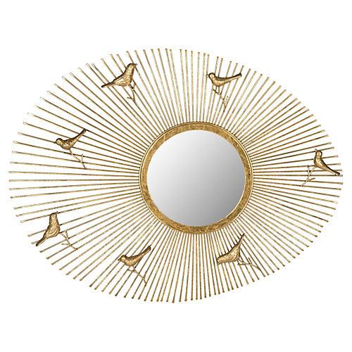 Golden Birds Sunburst Wall Mirror, Gold