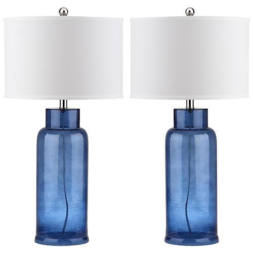S/2 Kelli Table Lamp Set, Blue/Silver