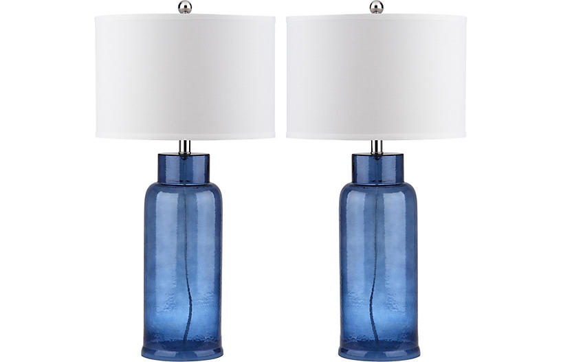 S/2 Clara Table Lamp Set, Blue/Silver