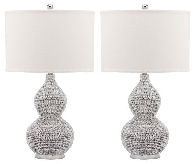 Nicole Beaded Lamp Set, Silver