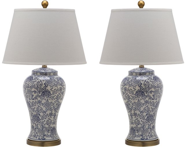 Spring Blossom Table Lamp Set, Blue