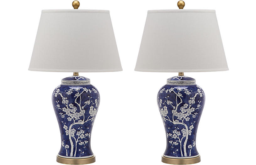 S/2 Spring Blossom Table Lamp, Navy