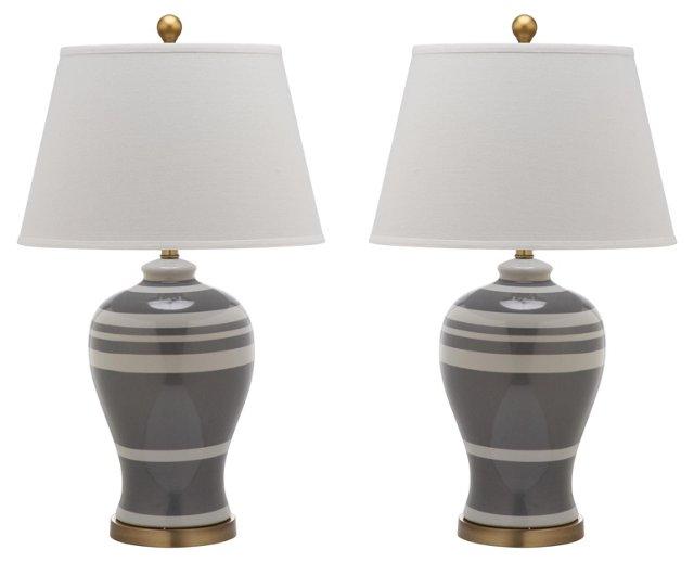 Beckford Ginger Jar Lamp Set, Gray