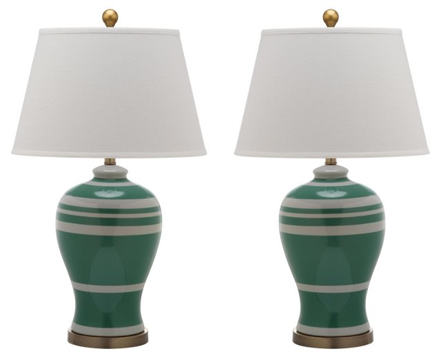 Beckford Ginger Jar Lamp Set, Green