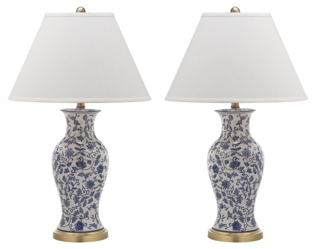 Beijing Floral Lamp Set, White/Blue