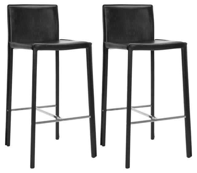 Black Collins Leather Barstools, Pair