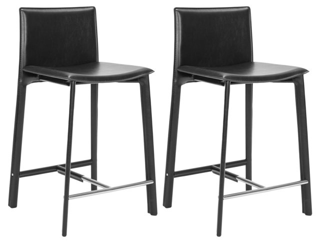 Black Collins Counter Stools, Pair