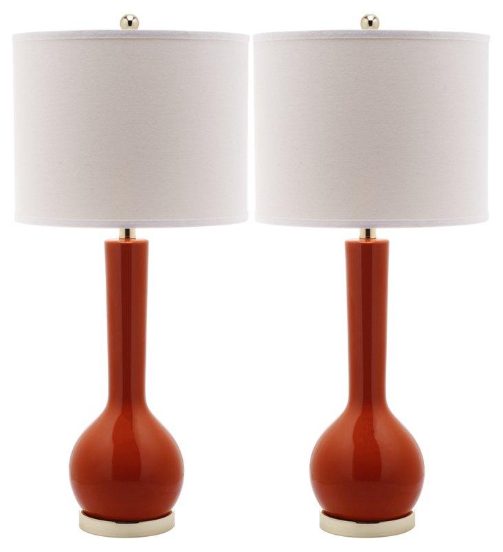 Ava Table Lamp Set, Orange