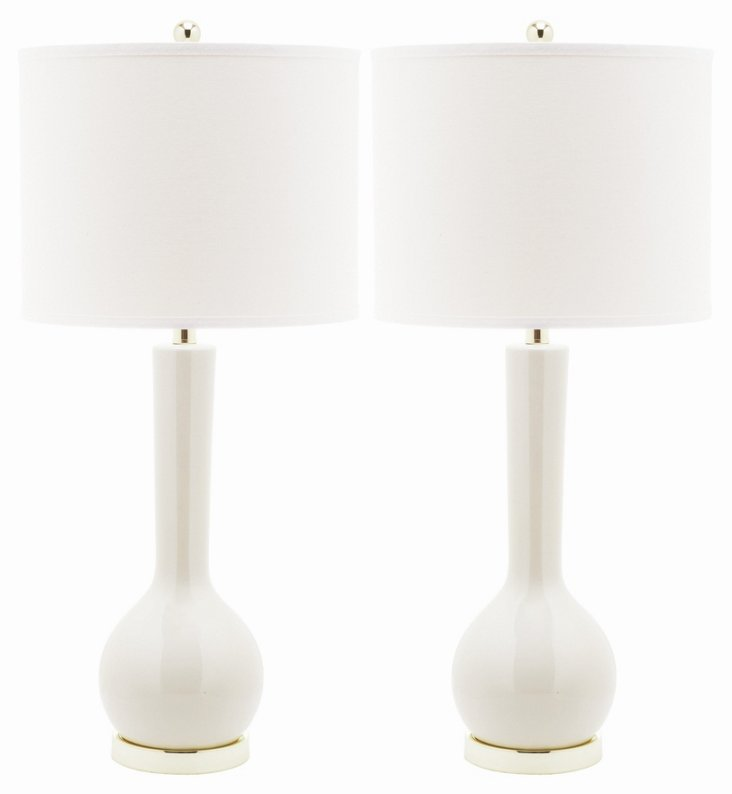 Ava Table Lamp Set, Talc