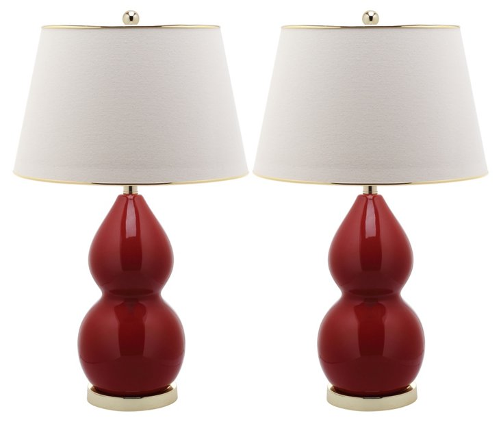 Jill Double Gourd Lamp Set, Red