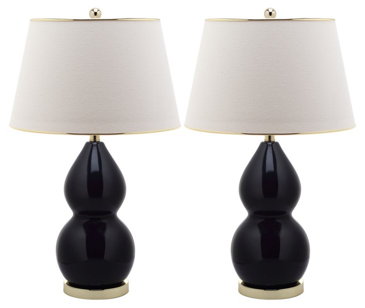 Jill Double-Gourd Lamp Set, Black